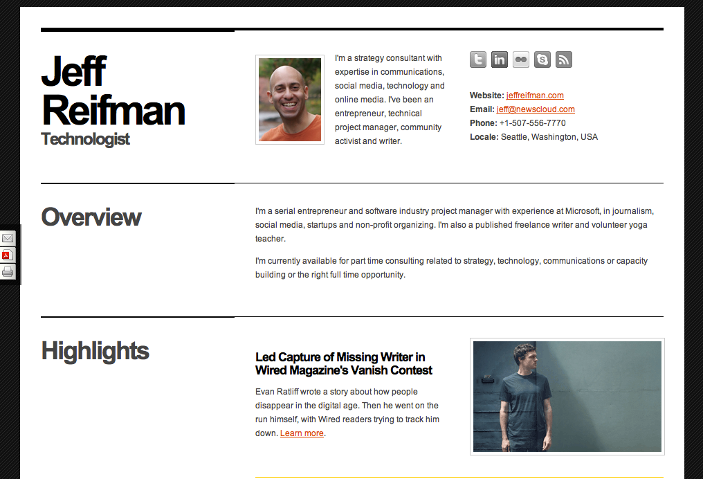 great template for a web based online resume cv jeff reifman