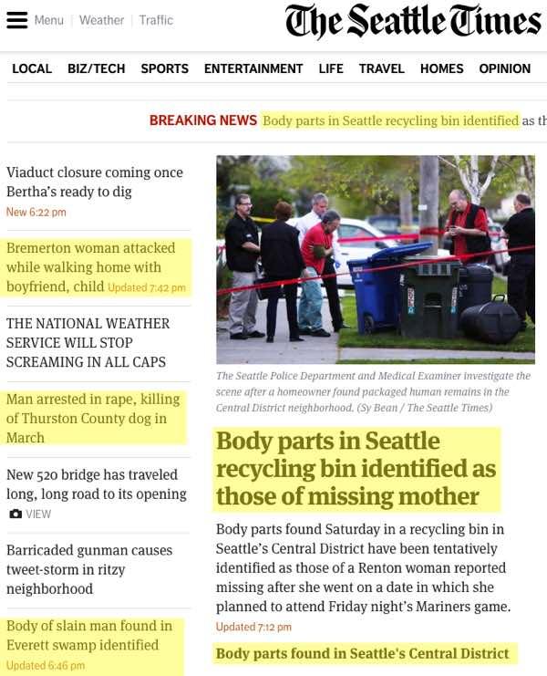 Seattle News is Gruesome Lately - Jeff Reifman